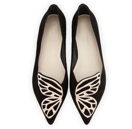 Ballet plano negro online-BIBI Mariposa ala plana Negro Azul bordado Bailarinas de cuero gamuza Punta puntiaguda Mocasines Chaussure Femmes