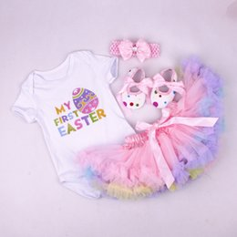 Wholesale Baby Boy Romper 18 Months - baby girl infant toddler 4piece outfits Princess Floral Easter romper onesies jumpsuit + lace skirt tutu skirt pettiskirt + headband + shoes
