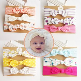 Wholesale Flowers Hair Style - 8 Style Baby girl INS Headband hair accessories Knot Bows Bunny band Birthday gift Flowers Geometric Print 3pcs set B001