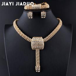 afrikanische perlen brautschmuck set Rabatt Jiayijiaduo Braut Kristall Afrikanische Perlen Schmuck Sets Für frauen Hochzeitskleid Zubehör Set Ohrringe Anhänger Halskette Ringe