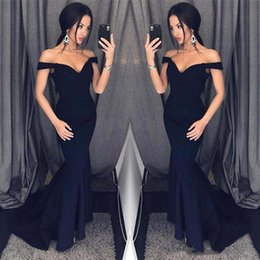 Wholesale Cheap Dress Jackets For Women - Dark Navy Mermaid Prom Dresses Off Shoulder Simple Floor Length Formal Evening Party Gowns Custom Cheap Dress for Women
