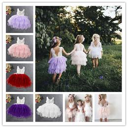 Saias de bolha do bebê on-line-Baby Girl Lace Dress Backless Bordado Crianças Festa de Princesa Vestidos de Festa de Casamento Saia de Bolha Menina Plissada vestido de Baile Vestido Assimétrico