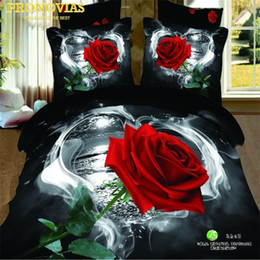 Wholesale pink roses pillow cases - romantic valentine rose 100% Cotton Bedding Set 4Pcs Queen Size Duvet doona Cover Flat Sheet Pillow Cases Bed Linen Kit
