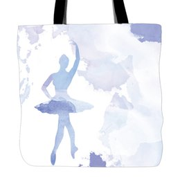 Wholesale Girls Side Bags - Waterpainting Style Printed Tote Bag For Shopping Women Shoulder Hand Bags Dancing Ballet Girls Two Sided Printing