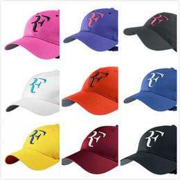 Wholesale letter hooks - 2018 Men Summer Cool Caps Roger Federer RF Tennis Fans Caps Cool Summer Baseball Tennis Sport Hat Men Baseball Caps
