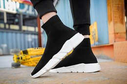 Wholesale Cheap Good Quality Boots - Good Quality Red black Speed Trainer Casual Shoe Man Woman Sock Boots Stretch-Knit Casual Boots Race Runner Cheap Sneaker High Top