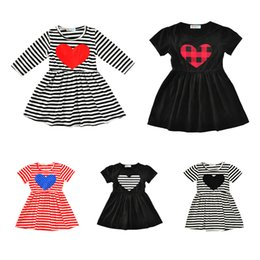 Wholesale Cotton Party Dresses For Girls - Summer Heart Girl Princess party Dresses Striped Plaid Kids Dress For Baby Girls Clothes European American Kids Children