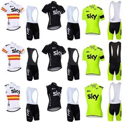 Wholesale Cream Equipment - 2018 Sky Team Short Sleeve Ride Equipment Summer Riding Equipment ROPA CICLISMO Bib Set Shorts Set mtb jersey C0815