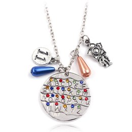 Стена для чаров онлайн-Stranger things Necklace,Handstamped Alphabet Light Wall Pendant with Monster Charms Eleven Letters  Necklace Movie Jewelry