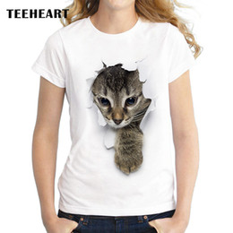 Wholesale Girls Pussy - Wholesale-Summer Unique 3d Cute cat Design T Shirt Women's short sleeve lovely pussy print Tops cool Hipster tees cute girl t shirt px963