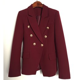 Wholesale Double Breasted Jacket Red - HIGH STREET New Fashion 2018 Designer Blazer Jacket Women's Metal Lion Buttons Double Breasted Blazer Outer Coat Wine red
