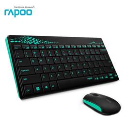 Wholesale Waterproof Wireless Keyboard - Rapoo 8000 Multimedia Mini Wireless Keyboard & mouse Combo With waterproof for PC Mac Laptops Desktops Android Smart TV gaming
