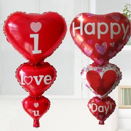Wholesale heart shape balloon decoration - New Heart Shaped I Love You Red Foil Balloons Party Decoration Engagement Anniversary Weddings Valentine Balloons 98*50cm WX9-285