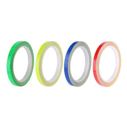 Wholesale Cycling Stickers Decals - 1CM*800cm 315inch Fluorescent MTB Bike Bicycle Cycling Motorcycle Reflective Stickers Strip Decal Tape Safety Waterproof Sticker 3001
