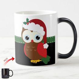 Wholesale Magic Cup Heat - New Mistletoe Christmas Owl Magic Mug Cute Owls Heat Sensitive Color Change Coffee Mugs Whie Ceramic Christmas Gifts Cups 11oz