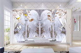 Wholesale custom photo fabric - Wholesale-custom photo wall mural wallpaper-non-woven wallpaper Elegant angel Roman column pigeon 3D TV background wall room wallpaper