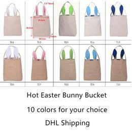 Wholesale Bucket Ears - Cotton Linen Easter Bunny Ears Bucket Hot 10 Styles Basket Bag For Easter Gift Packing Handbag For Children Festival Gift