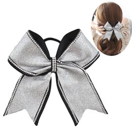 Wholesale rhinestone hairbands - 2018 New girls hair bows 8 inch rhinestone bling kids popular cheerleading cheer bows for children girl elastic hair band.10pcs