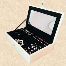 Holzpaket online-PU Leder Holz Schmuckschatullen passen Europäische Pandora Charms Perlen Anhänger Armband und Halskette Schmuck Verpackung Display Geschenkbox