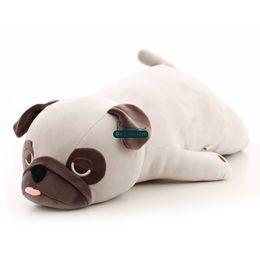 Wholesale big dog plush toys - New Cute Soft Animal Pug Plush Toy Big Stuffed Anime Pekingese Doll Animals Dog for Kids Gift Decoration 75cm 90cm DY50051