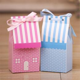 Argentina 10pcs / lot Cute Pink Stripe House Shape Sweet Wedding caja del caramelo con la cinta de color azul Baby Shower cumpleaños caja de regalo de la fiesta de cumpleaños Suministro