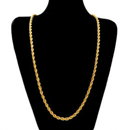 Wholesale 6mm Gold Necklace - Mens hip hop jewelry 6mm twist chains European and American style hot hiphop stainless steel chain necklaces accessories