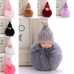Sweet Fluffy Pompom Sleeping Baby Key Chain Faux Rabbit Fur Pom pon Knitted  Hat Baby Doll Keychain Car Keyring Toy Trendy Gift discount pompom toys 05f80719a940