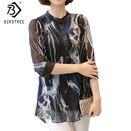 Wholesale Ladies Three Quarter Sleeve Blouses - 2017 Fall Women Blouses Three Quarter Sleeves Chiffon Blouses Plus Size Women Shirt Big Size Ladies Work Shirts 3XL Tops T7N627A