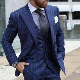 Argentina 2018 Últimos diseños de pantalón de abrigo azul marino a rayas hombres traje Slim Fit 3 unidades flaco estilo de esmoquin trajes personalizados novio Blazer Vestidos cheap coat pant styles for blue Suministro
