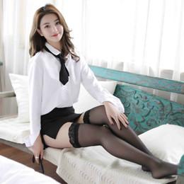 Lady OL Seksi Sekreter Gece Kulübü Kariyer Sıkı Iç Çamaşırı Suits Beyaz Gömlek Siyah Etek Öğrenci Üniforma nereden