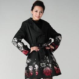 Новые женщины зимняя мода печати пальто Роза жаккард двубортный тонкий тренч Женская верхняя одежда плюс размер от