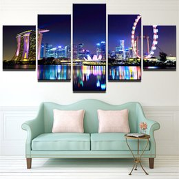 5panels singapore marina bay hd art oil painting print on canvas home wall decoration posters framed no stretch