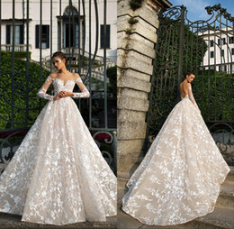 Wholesale modest cathedral gowns - Castle Church Wedding Dresses A Line Off the shoulder with Long Sleeve Backless Modest 3D Floral Lace Cathedral Train Bridal Gowns