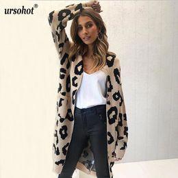 ad31973552 Ursohot Autumn Winter Leopard Print Knitted Long Cardigan Women 2018 Casual  Style Pocket Open Stitch Sweater Tops Outwear Jumper