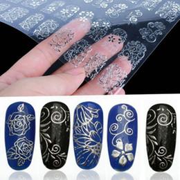 цветок серебряный лист Скидка 1 Sheet=108Pcs 3D Silver Flower Nail Art Stickers Decals Stamping DIY Decoration Tool DIY Beauty Nail Art Decals Decorations