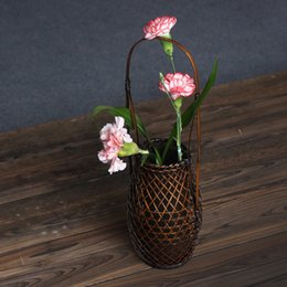 Wholesale Club Bamboo - Japan Style Bamboo Weaving Flower Vase Basket Club Teahouse Furnishing Articles Classical Flower Arrangements Vase High Quality