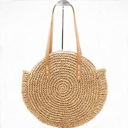 2020 gewebte rattan-einkaufstasche Handgemachte Rattan Woven Runde Handtasche Mode Strohsack Seil gestrickte Umhängetasche Sommer Strandtasche E44 günstig gewebte rattan-einkaufstasche
