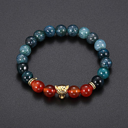 Wholesale crystal beads strands - agate Crystal stone Leopard head Bracelet Men Black red Healing Balance Beads Reiki Buddha Prayer Natural Stone Bracelet For Women 320124