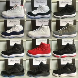 Wholesale clear light blue - Men Cap and Gown 11 XI 11s PRM Heiress Black Stingray Gym Red Chicago Midnight Navy Blue Black Men Basketball Shoes Sports