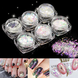 Venta caliente 6 Potes Moda Cristal Roto Nail Art Tios Decoración Paillette Escama Irregular Foil Set desde fabricantes