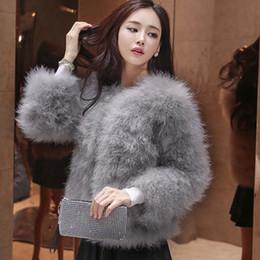 Wholesale Ostrich Feather Coat Xl - Winter Women Coat Faux Ostrich Fur Coats Ladies Shaggy Coat Long Sleeve Fluffy Turkey Feather Fourrure Female Plus Size 3XL Q4