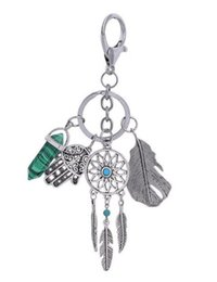 Wholesale Evil Eye Key Ring - New Fashion Dreamcatcher Key Chain Fatima's Evil Eye Palm Hexagonal Prism Feather Key Rings For Women