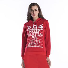 Suéter copo de nieve de venado online-Carta de Año Nuevo Sudaderas con capucha Sudaderas con cuello redondo suéter con capucha copo de nieve ciervo impresión suéter de gran tamaño ropa de mujer Autume
