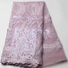 Wholesale Pink Tulle Fabric Netting - African Tulle Lace Fabric French net Lace With beadings Nigerian Embroidery guipure Lace GYNL0078