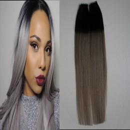 Pacote de cabelo humano on-line-100g 2.5g / pc T1B / Cinza Fita Na Extensão Do Cabelo Humano ombre Sem Costura reta pele weft fita extensões de cabelo 40 unidades / pacote