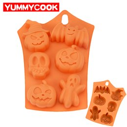 Wholesale Pumpkin Baking - 6 Cavities Pumpkin Cake Mold Ghost Bat Shape Chocolate Molds Halloween Festival DIY Decorating Tools For Baking Pastry Tools