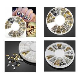 Искусство чёрного металла онлайн-200Pcs/Box 3D Decorations Nail Art Designs Silver Gold Black Metal Nail Studs Gems Metal Art Studs Manicure Tools