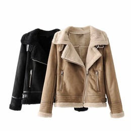khaki motorcycle jacket Promo Codes - Winter Women's Motorcycle Faux Lambs Wool Coat Female Pilot Thick Warm Shearling Coats Faux Suede Leather Jackets Biker Jacket