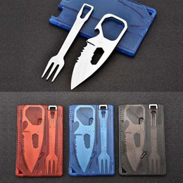 outdoor survival cards Promo Codes - Outdoor Portable 2pcs Travel Survival Camping Tactical Knife Fork Sets Cutlery Multifunctional Card Bottle Opener Tool NY082