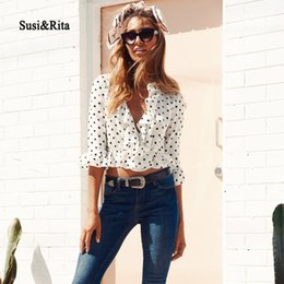 Wholesale Dotted Ladies Chiffon Tops - Susi&Rita 2018 Chiffon Blouse Women Vintage Ruffled Polka Dot Tops Summer Sexy Crop Tops Ladies Loose Blouse Femme Blusas